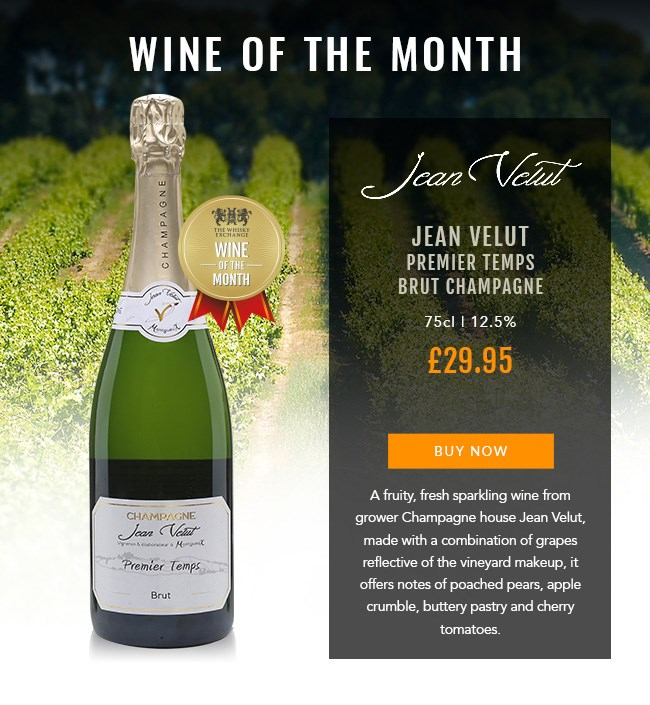 WINE OF THE MONTH  Jean Velut Premier Temps Brut Champagne  75cl | 12.5%  £29.95  BUY NOW: https://www.thewhiskyexchange.com/feature/wineofthemonth  A fruity, fresj sparkling wine from grower Champagne house Jean Velut, made with a combinaiton of grapes reflective of the vineyard makeup, it offers notes of pached pears, apple crumble, buttery pastry and cherry tomatoes.