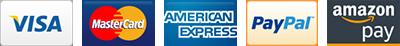 Visa, MasterCard, American Express, PayPal and Amazon Pay