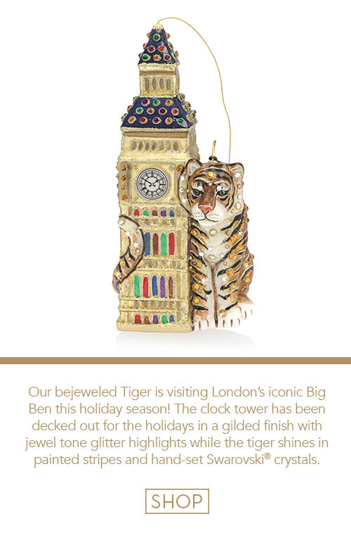 Big Ben with Tiger Glass Ornament
