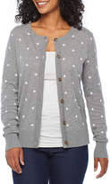 Womens Round Neck Long Sleeve Button Cardigan