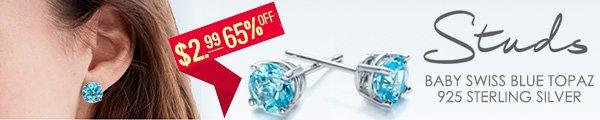 Special offer! Hot baby swiss blue topaz earrings