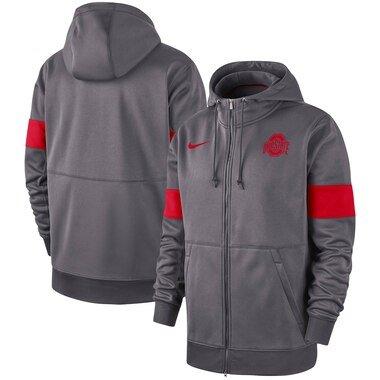 Ohio State Buckeyes Nike 2019 Sideline Performance Full-Zip Hoodie - Anthracite