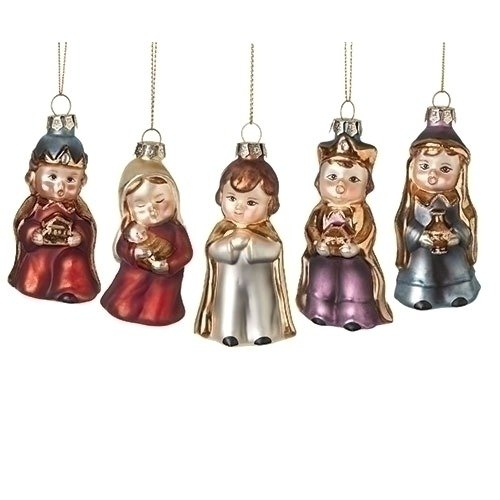 5pc Glass Nativity Pageant Ornaments