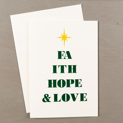 Faith Hope and Love Typography Christmas Card