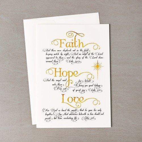 Faith Hope and Love Gold & Black Christmas Cards