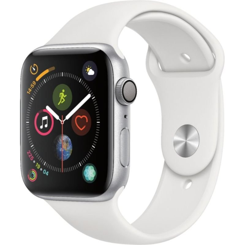 Apple Watch Series 4 (GPS) 44mm Silver Aluminum Case with White Sport Band