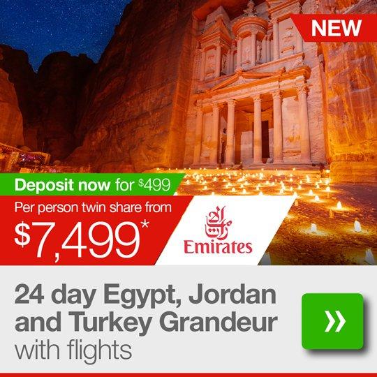 24 day Egypt, Jordan and Turkey Grandeur tour with flights