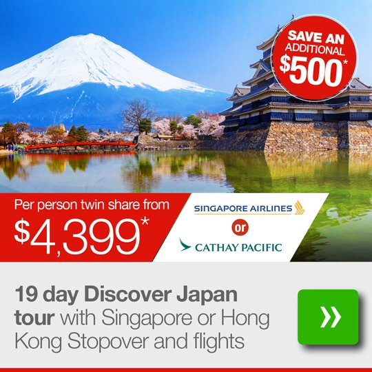 19 day Discover Japan tour with Singapore stopover and flights