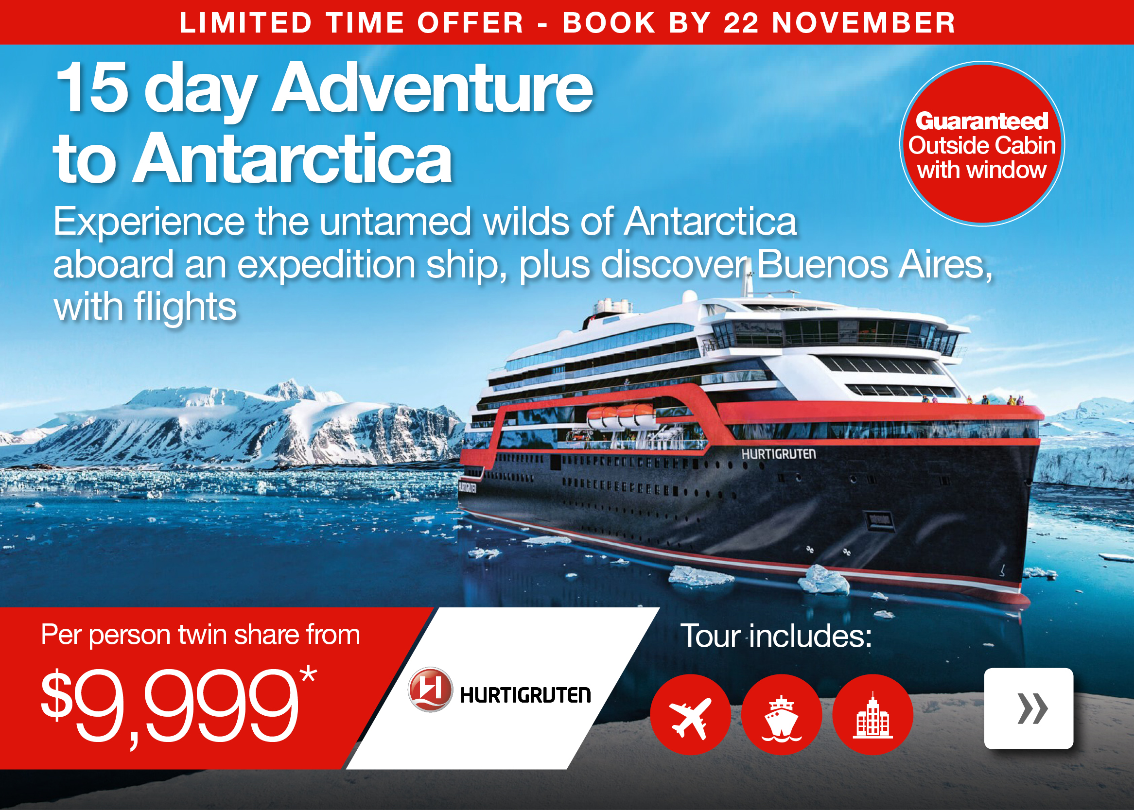 15 day Adventure to Antarctica with Expedition cruise, Buenos Aires and flights