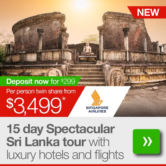 15 day Spectacular Sri Lanka tour with luxury hotels and flights