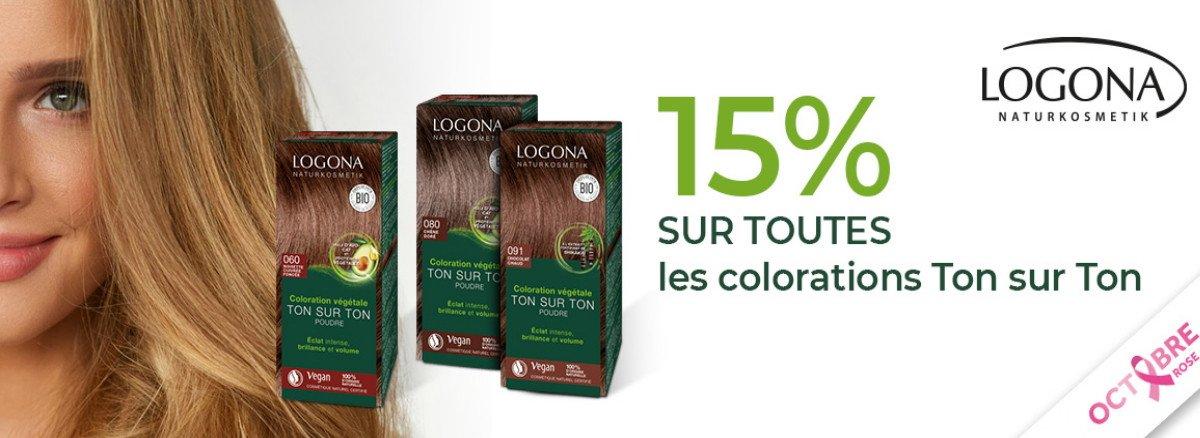Venez Profiter de 15% de remise sur la gamme colorations vegetales logona!