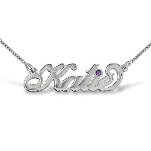 Silver Carrie Style Swarovski Name Necklace