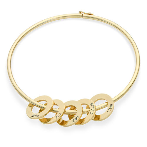 Bangle Bracelet with Round Shape Pendants in Vermeil