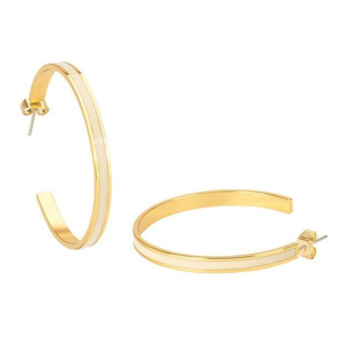 Boucles d'oreilles Bangle Up BUP06-BAN-OCR03 - Créoles en laiton doré émaillé - tige en acier chirurgical/poussette Femme