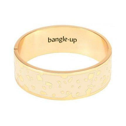 Bracelet Bangle Up BUP08-LUC-BFA03 -  LUCY Blanc Sable fermoir orné pépites métal doré émaillé  Femme