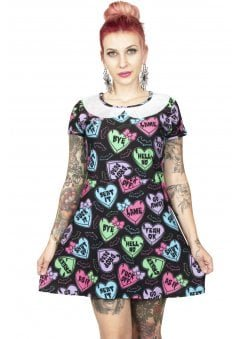 Creepy Candy Hearts A-Line Collar Mini Dress
