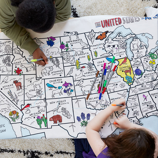 USA Coloring Tablecloth