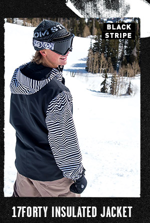 Mens 17Forty Insulated Jacket - Black Stripe