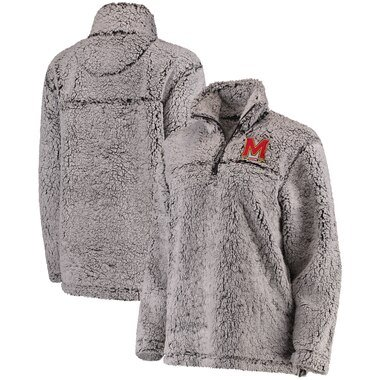 Maryland Terrapins Women's Sherpa Super Soft Quarter-Zip Pullover Jacket - Gray