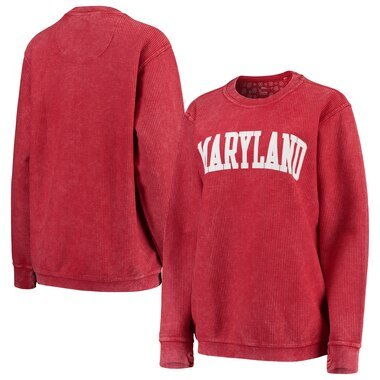 Maryland Terrapins Pressbox Women's Comfy Cord Vintage Wash Basic Arch Pullover Sweatshirt - Red