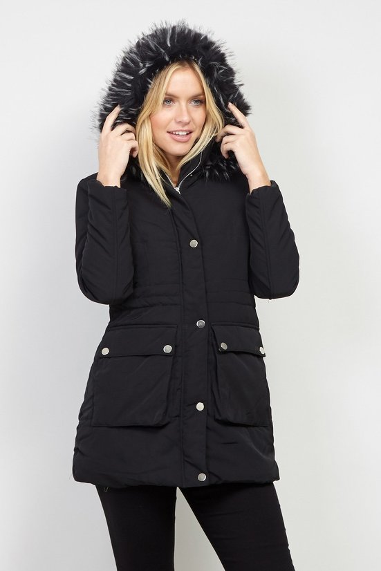 Faux Fur Hood Duffle Jacket