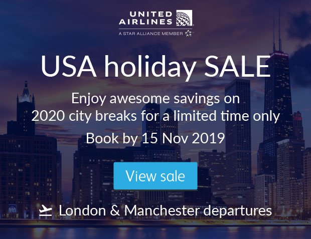 United Airlines: 2020 USA holiday sale