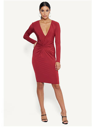 Twist Front V Dress