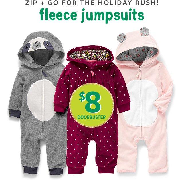 Zip + go for the holiday rush! fleece jumpsuits   $8 Doorbuster
