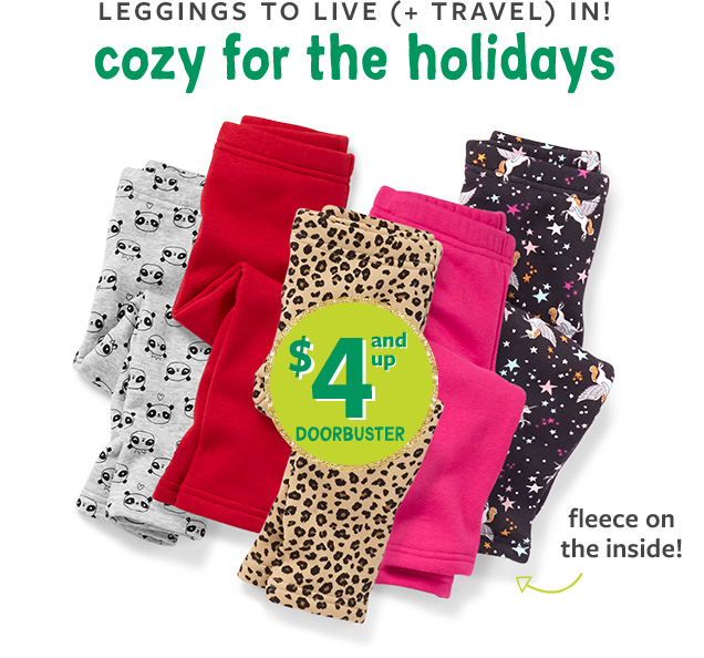 Leggings to live (+ travel) in! cozy for the holidays   $4 and up Doorbuster   fleece on the inside!