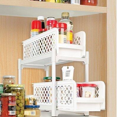 2 Tier Basket Drawers Bathroom Organizer - Plastic Storage Organizer For Kitchen