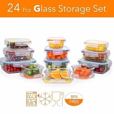 24 Pcs Glass Storage Container Set w/ Locking Lids & Vent