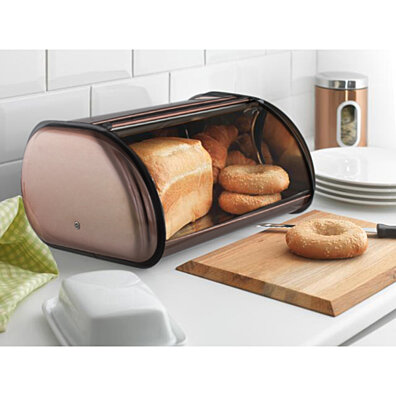 Heavy Duty Copper Lined Bread Box Stainless Steel Bread Storage Box Holder 16 Bread Bin