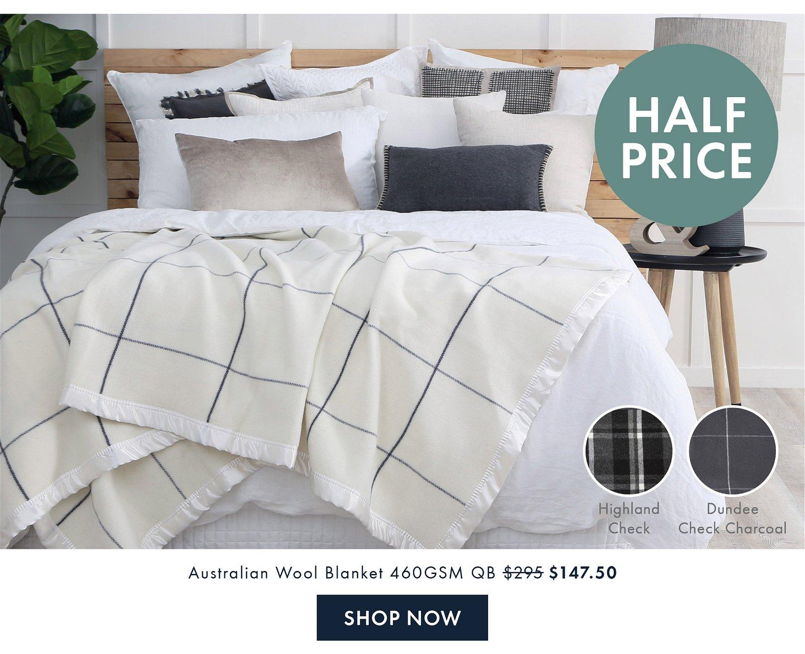 Half Price | Australian Wool Blanket QB $147.50 | Shop Now