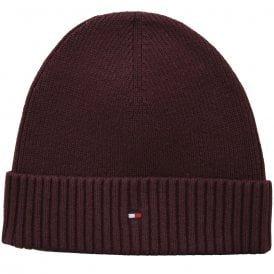 Pima Cotton Cashmere Beanie Hat, Burgundy