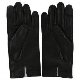 Embossed Logo Leather Touchscreen Gloves, Black