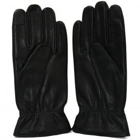 Plate Logo Leather Touchscreen Gloves, Black