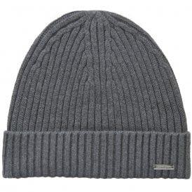 Cotton Cashmere Rib Beanie Hat, Mid Grey Heather