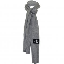 Jeans Logo Knitted Cashmere Wool Scarf, Grey Heather