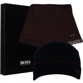 Merino Wool Beanie Hat & Scarf Gift Set, Navy/claret