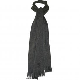 Classic Embroidered Logo Wool Scarf, Grey Heather