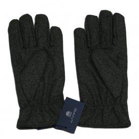 Fleece Lined Melton Wool Gloves, Anthracite Melange