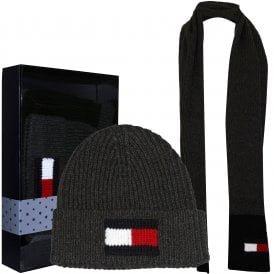 Large Flag Logo Hat & Scarf Gift Set, Charcoal Grey