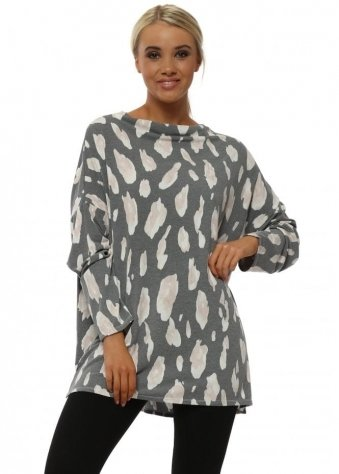 Amy Greyed Off Leopard Cowl Neck Long Sleeve Top