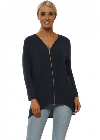 Flick Charcoal Long Sleeve Zip Top