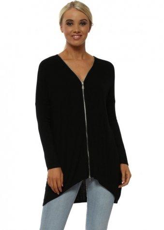 Flick Black Long Sleeve Zip Top