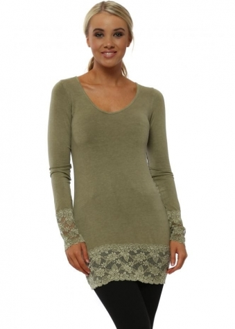 Lauren Olive Long Sleeve Lace Hem Top