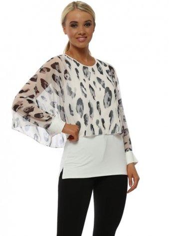 Amelia Daisy White Leopard Print Overlay Top