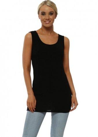 Plain Jersey Vest In Black