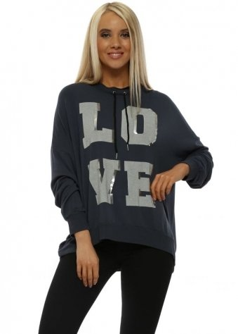Charcoal Silver Foil Love Logo Sweater