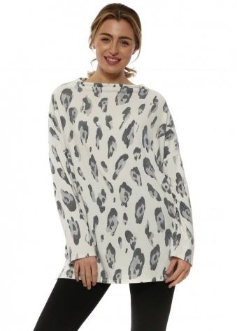 Amy Daisy White Leopard Cowl Neck Long Sleeve Top